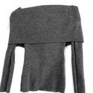 Aritzia off the shoulder grey sweater